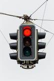 Feu de signalisation avec la lumière rouge Photo libre de droits