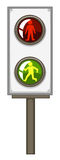 Feu de signalisation avec les lumières vertes et rouges Photo stock