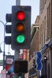 Feu de signalisation dans la rue de Reno, Nevada Photos libres de droits