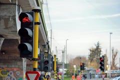 Feu de signalisation rouge pour des cyclistes photos libres de droits