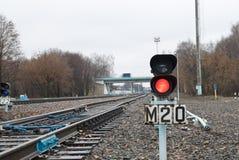 Feu de signalisation sur le chemin de fer Photo stock