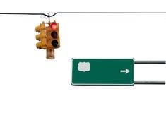 Feu et signe de signalisation Image stock
