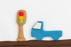 Feu et voiture de signalisation de pâte à modeler Image libre de droits