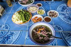 Feu is Lao noodles. Feu is a long-simmered Lao stew or noodle soup most often made with meat and bones Stock Image