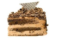 Feuchte Dreiergruppe überlagerter Schokoladenkuchen stockfotos
