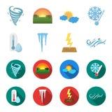 Feuchtigkeit, Eiszapfen, Blitz, windiges Wetter Gesetzte Sammlungsikonen des Wetters in der Karikatur, flacher Artvektor-Symbolvo Stockfotos