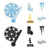 Feuchtigkeit, Eiszapfen, Blitz, windiges Wetter Gesetzte Sammlungsikonen des Wetters in der Karikatur, schwarzer Artvektor-Symbol lizenzfreie abbildung