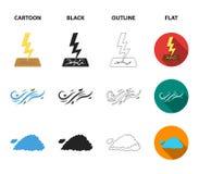 Feuchtigkeit, Eiszapfen, Blitz, windiges Wetter Gesetzte Sammlungsikonen des Wetters in der Karikatur, Schwarzes, Entwurf, flache stock abbildung