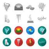 Feuchtigkeit, Eiszapfen, Blitz, windiges Wetter Gesetzte Sammlungsikonen des Wetters einfarbiges, flaches Artvektorsymbolauf lage stock abbildung