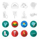 Feuchtigkeit, Eiszapfen, Blitz, windiges Wetter Gesetzte Sammlungsikonen des Wetters im Entwurf, flacher Artvektor-Symbolvorrat lizenzfreie abbildung