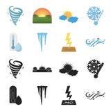 Feuchtigkeit, Eiszapfen, Blitz, windiges Wetter Gesetzte Sammlungsikonen des Wetters im Schwarzen, Karikaturartvektor-Symbolvorra stock abbildung
