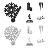 Feuchtigkeit, Eiszapfen, Blitz, windiges Wetter Gesetzte Sammlungsikonen des Wetters im Schwarzen, monochrom Artvektor-Symbolvorr lizenzfreie abbildung