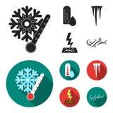 Feuchtigkeit, Eiszapfen, Blitz, windiges Wetter Gesetzte Sammlungsikonen des Wetters schwarzes, flaches Artvektorsymbolauf lager vektor abbildung