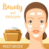 Feuchtigkeitscremeschönheit und -Hautpflege Hintergrund für Katalog oder Werbung vektor abbildung