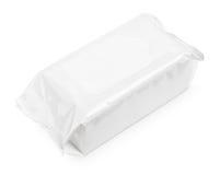Feuchtpflegetücher verpacken lokalisiert auf Weiß stockbilder