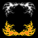 Feuer über Schwarzem Stockbilder