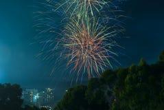 Feuer arbeitet an neuen Jahren Eve Over Adelaide CBD, Süd-Australien Lizenzfreie Stockbilder