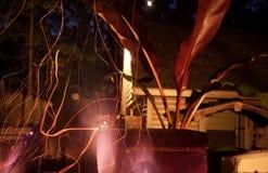 Feuer auf der Plattform Stockfoto