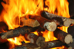 Feuer auf Holz Stockfotografie