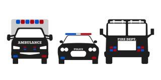 Feuer-Auto, Krankenwagen und Polizeiwagen Stockbilder