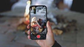 Feuer brennt im Kamin stock video