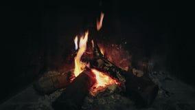 Feuer brennt im Kamin stock footage