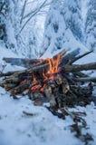 Feuer brennt im Schnee im Wald, auf einem Hintergrund von schneebedeckten Tannen Lizenzfreies Stockbild