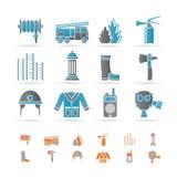 Feuer-Brigade und Feuerwehrmannausrüstungsikone vektor abbildung