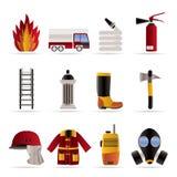 Feuer-Brigade und Feuerwehrmannausrüstungsikone - Vektor I Stockbild