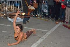 Feuer dansers an Festival Gent-Frühling Lizenzfreies Stockfoto