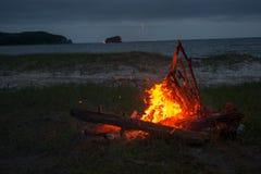 Feuer, das auf dem Strand nachts brennt helles Feuer, Brennholz Lizenzfreie Stockfotografie
