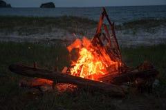 Feuer, das auf dem Strand nachts brennt helles Feuer, Brennholz Stockfoto