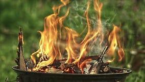 Feuer, das in der Zeitlupe brennt stock video