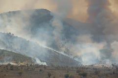 Feuer in den Bergen während der Dürre, die Türkei Lizenzfreie Stockfotos