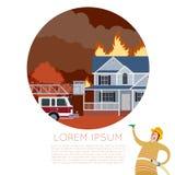 Feuer in der Hausfahne lizenzfreie abbildung