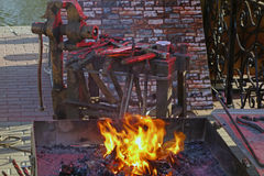 Feuer in der Schmiede Stockfotografie