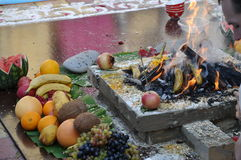 Feuer in der Vedic Hochzeit Lizenzfreies Stockfoto