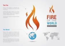 Feuer der Weltzeichenikonensymbol-Informationsgraphik Kreativer Markt Lizenzfreies Stockfoto