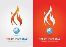 Feuer der Weltzeichenikonensymbol-Informationsgraphik Kreativer Markt Lizenzfreie Stockfotografie
