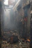 Feuer in einem Gebäude stockfotos