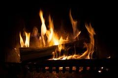 Feuer in einem Kamin Stockfotos