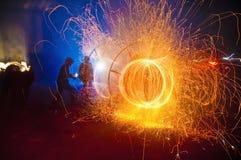 Feuer-Festival der katalanischen Regionen stockfotografie