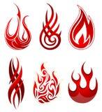 Feuer-Flammen eingestellt Stockbild