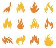 Feuer-Flammen-Ikonen und Symbole Stockbilder