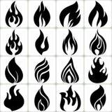 Feuer-Flammen-Vektor-Ikonen eingestellt Stockfotografie