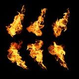 Feuer flammt die Sammlung, die auf schwarzem Hintergrund lokalisiert wird Lizenzfreies Stockbild