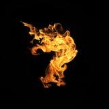 Feuer flammt die Sammlung, die auf schwarzem Hintergrund lokalisiert wird Stockbilder