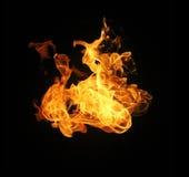 Feuer flammt die Sammlung, die auf schwarzem Hintergrund lokalisiert wird Lizenzfreie Stockbilder