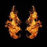Feuer flammt die Sammlung, die auf schwarzem Hintergrund lokalisiert wird Lizenzfreie Stockfotografie