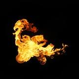 Feuer flammt die Sammlung, die auf schwarzem Hintergrund lokalisiert wird Stockbild